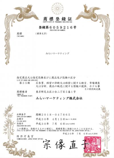 商標登録証:登録第6059216号